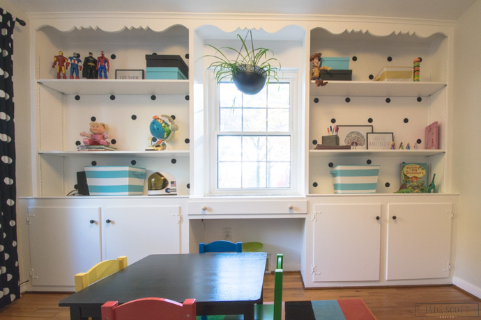 colorful built-ins for playroom