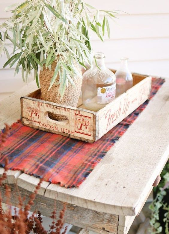 plaid fall decor